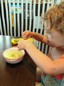 Eden enjoying her food