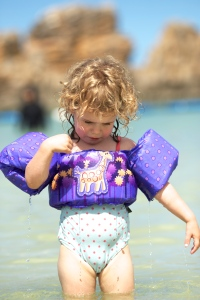 Eden not wanting to leave Araha Beach