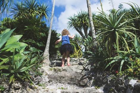 Eden climbing up one of the hidden little paths
