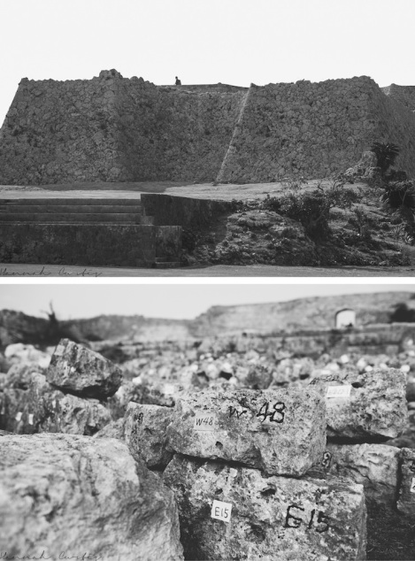 Nakagusuku Castle, stones which have been removed and carefully numbered awaiting installation