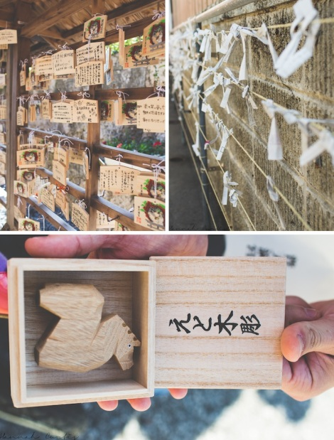Ema (small wooden plaques),  O-mikuji (fortunes written on strips of paper), our omamori
