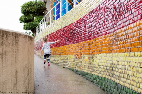 Eden loved touching the glass tiles on this wall