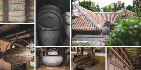 bamboo ceiling, baskets for cooking?, Okinawan red tiled roof, various kitchen items, old ladder
