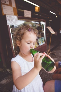Eden enjoying the Japanese cider
