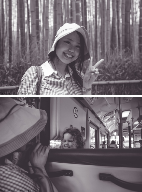 Asumi at Arashiyama, Asumi & Eden playing on the bus