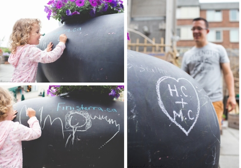 Eden loved drawing on this chalk pig, Matt even added to the pig!