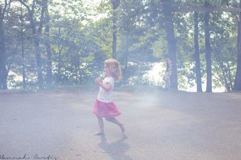 Running through the smoke from the smoke bombs