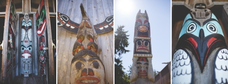 a handful of the beautiful carvings at Tillicum Village