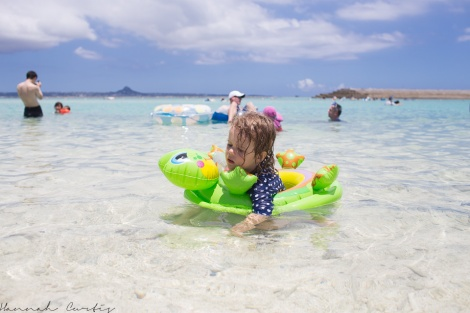 Eden with her tube at Minna-Jima