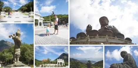 Matt fanning Eden after her walk down, Po Lin Monastery, Tian Tan, views from the top