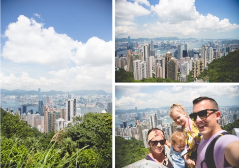Views from The Peak, out of focus family selfie!