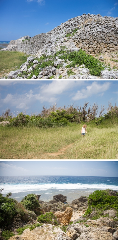 Gushikawa Ruins, bottom photo is where Matt climbed down to look at the rock pools