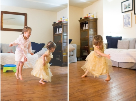 dancing at their princess make-over party