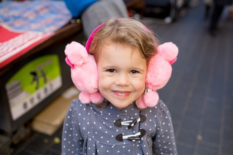Eden first purchase, some ear muffs from a street vendor