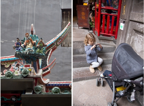 Qingshan Temple, Eden taking photos of a sleeping Clio