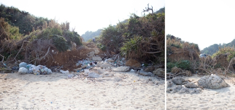 the trash all piled up on the entrance to this little hidden beach, our car parked up the top!