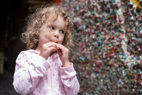 chewing gum for the gum wall, Seattle, USA