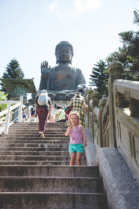 climbing steps to see Tian Tan Buddha, Hong Kong