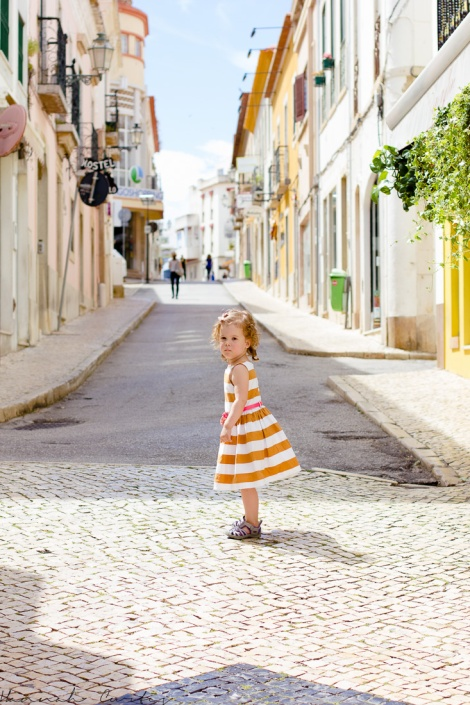 Eden roaming the streets of Lagos, Portugal