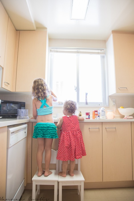 day 87| making banana cake for papa's work.  Eden did virtually everything herself, with a little help from her sister!