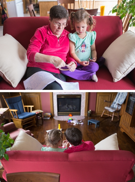 Grandma teaching Eden how to cross stitch