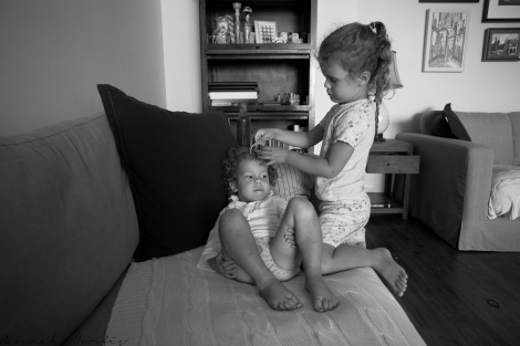 day 123 | we all like to be pampered in our house, especially Clio! (Eden doing Clio's hair)