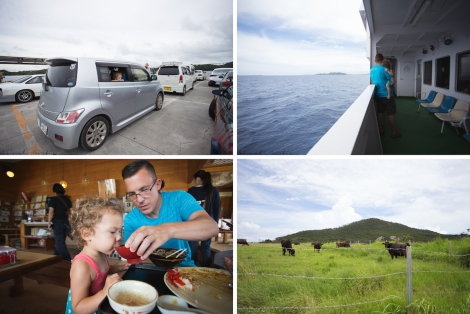 my wee car waiting to board the boat, Matt & Clio on the ferry looking at Izena, delicious lunch, cows!