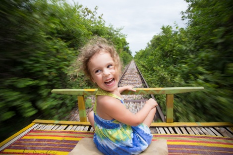 day 165 | my favorite photo despite its imperfections, happiness = riding the bamboo train, Battambang, Cambodia