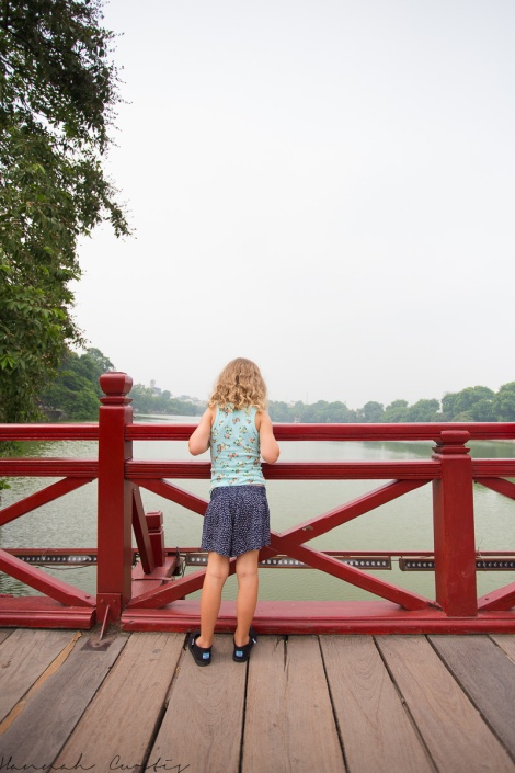 on the bridge looking over Hoan Kiem Lake
