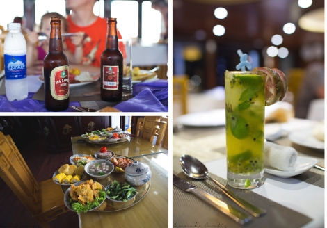 bottom left; our final meal the Vietnamese wedding lunch, my glorious passion fruit mojito!