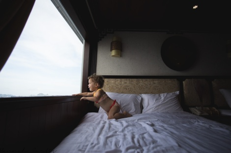 Clio just loved the cruise boat & our room!
