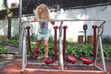 exercising at Tao Dan Park