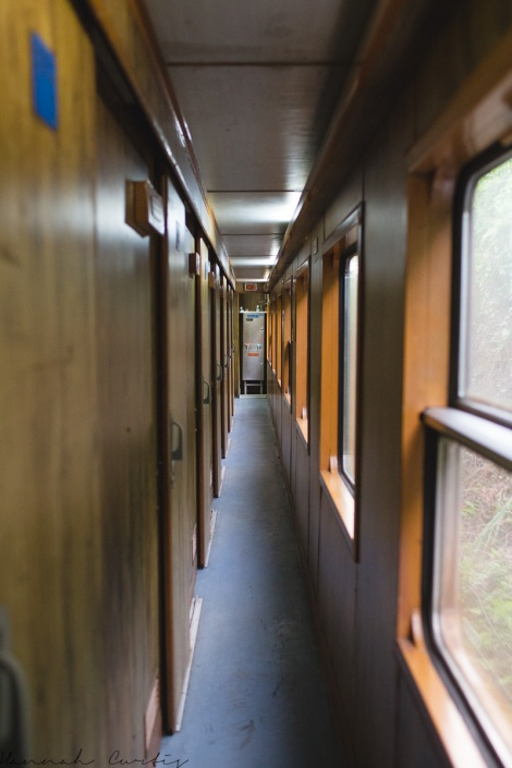 the corridor; the sleeping compartments are on the left