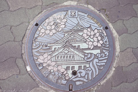 Japan always has great manhole covers...this is one of Osaka Castle